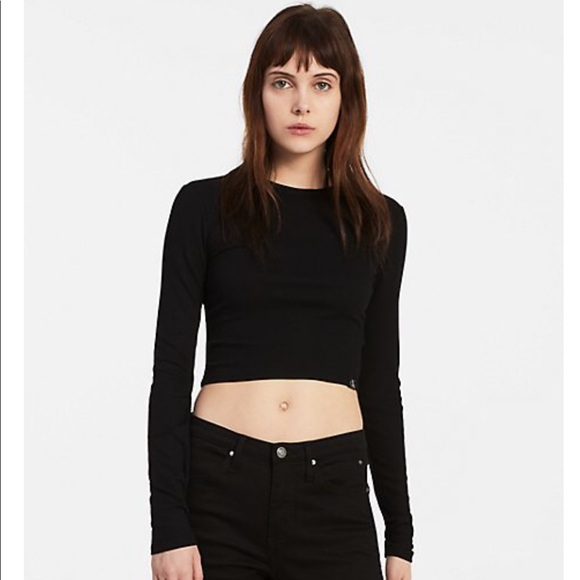 bb409580 Calvin Klein Jeans Tops | Calvin Klein Black Ribbed Classic Crop Top ...